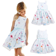 2017 Sweet Little Girls Princess Dress Kids Girl Summer Floral Dresses Party Ball Flower Gown Dresses  Clothing