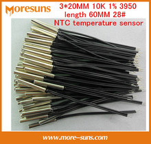 Fast Free Ship 20pcs/lot Cylindrical probe 3*20MM 10K 1% 3950 length 60MM 28# doubling cable NTC temperature sensor