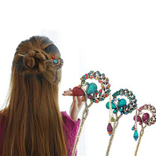 3 Colors Retro Ethnic Style Flowers Water Drop Crystal Dangle Hair Stick Hairpin Butterfly Hairclip Women Jewelry Accessories