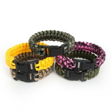 Hot Outdoor Camping Hiking Emergency ParaCord Bracelet 25cm For Men Women Survival Parachute Rope Whistle Buckle Kit Wristbands