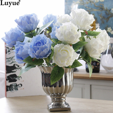 Luyue Official Store 7 heads Artificial Rose Peony bouquet wedding flowers fake peony flowers  for home and party decoration