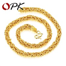 OPK Hiphop Gold Color Chain Necklace For Men Unique Wheat Deasign Fashion 8 MM Wide 60 CM Long Male Party Gift Never Fade KX655(China)