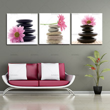 Wall Art Picture Home Decoration Living Room 3 Panel Large Modern Canvas Oil Painting Art Pink Lotus Flowers And Stone Picture(China)