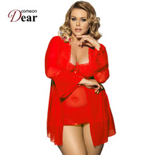 Buy Comeondear Sleeping Gown Dress Coat G String Night Wear Women Long Sleeves Lingerie Plus Size Nighties Sleepwear R80185