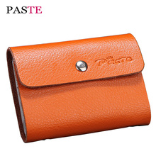 PASTE 26 Bits Business ID Credit Card Holder Case Split Leather Fold Women Cards Holders Slots Wallet Plastic Card Package(China)