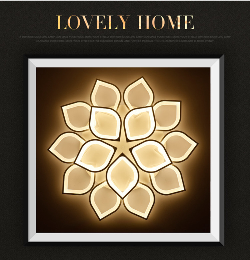 Horsten Remote Control Modern LED Ceiling Lights For Living Room Bedroom Acrylic Ceiling Lamps Flower Design Celing Lamp 90-260V (1)
