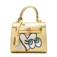 New Female Cute Cartoon Genuine Sweetheart Platinum Handbag Big Eyes Spongebob Korea Crocodile Texture Totes Vintage Bag