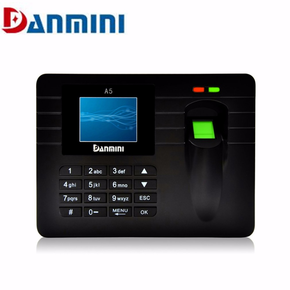 DANMINI A5 2.4inch TFT Fingerprint Time Clock Recorder Attendance Access Machine Support USB Download with LCD Screen for Office<br>