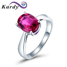 Unique Succinct Gemstone Pink Tourmaline 14K White Gold Natural for Women Wedding Promise Ring Set(China)