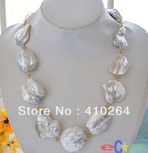 $wholesale_jewelry_wig$ Free Shipping HUGE nature baroque white KESHI REBORN PEARL citrine NECKLACE