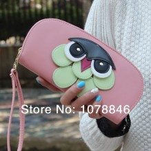 New 2014  women PU leather OWL wallet retro clutch wallets vintage cartoon Ladies coin purse phone bag card holder Free shipping