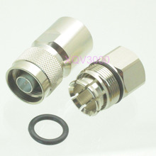 "Connector N male plug pin clamp for 1/2"" corrugated cable silver RF COAXIAL"
