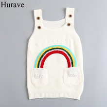 Hurave fashion girl clothes Spring solid color children knit vest dress girl sweater rainbow pattern girl sundress(China)