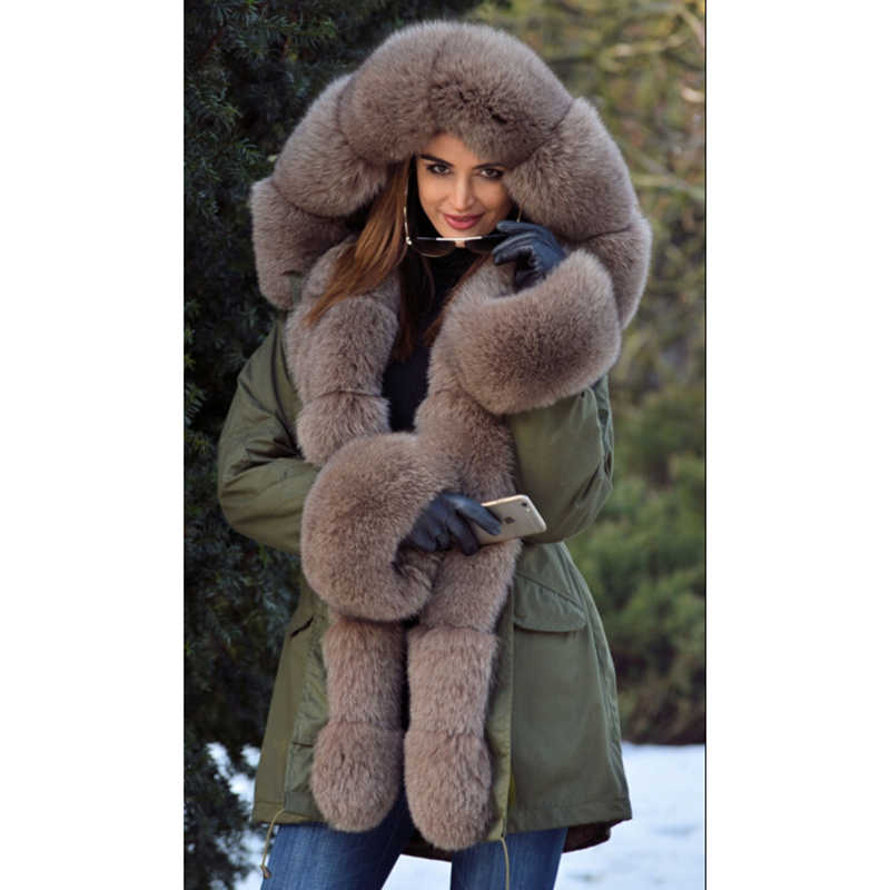 Winter Warm Real Genuine Fox Fur Ladies Hooded Coats Thick Outwear Jacket Parka