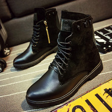 High Quality Men Long Boots Brown Zip Pipe Boots Waterproof High Top Male Boots Casual Flat Shoes X835 5