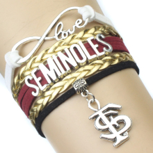 Infinity Love NCAA Florida State Seminoles Wrap Bracelet Garnet Gold White Custom Any Bracelets - Drop Shipping