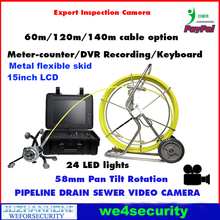 Pan Tilt 360 Rotation Pipeline Inspection Camera System 60m Cable 58mm Meter Counter Keyboard Recording Borescope 15inch Monitor