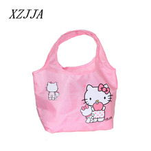 Cute Hello Kitty Cartoon Women's Portable Storage Bag Shoulder Bags Ladies Hand Bag Reusable Lunch Supermarket Eco Shopping Bag