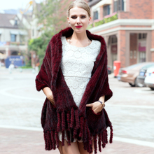 2016 new winter hot sales high quality mink fur mink shawl fringed scarves warm shawl scarves(China)