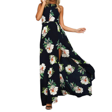 Buy Floral Print Long Dress Boho Halter Women Backless Maxi Dresses Chiffon Sexy Split Beach Summer Sundress GV685
