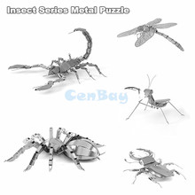 3D Metal Puzzle from 3D Laser Cutting Metal Pieces 3D Insect DIY Model Toys Contains Scorpion/Spider/Dragonfly/Mantis/Beetle