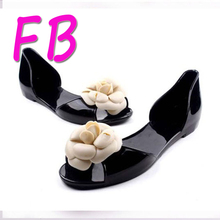 Cheap Camellia Candy Colorful Jelly Beach Shoes Designer Flat Shoes Flower Deco Fashion Plastic Sandals Fish Mouth 2016 Free