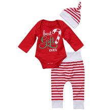 2017 Christmas Newborn Baby Clothes Best Gift Long Sleeve Romper Tops+Striped Pant Legging Hat 3PCS Outfit Toddler Kids Clothing(China)