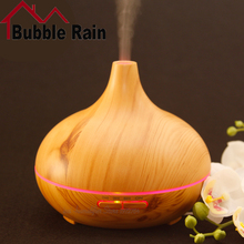A16 300ML Air Humidifier Aroma Essential Oil Diffuser Wood Grain Super Diffuser Aromatherapy Cool Mist Make for Office Home-Wood