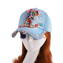 new most popular girl women luxury brand clear crystal rhinestone kitty cat style summer denim baseball cap snapbacks hats