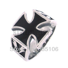 Wholesale German Army Iron Cross Ring Stainless Steel Jewelry Gothic Punk Motor Biker Men Ring SWR0125(China)