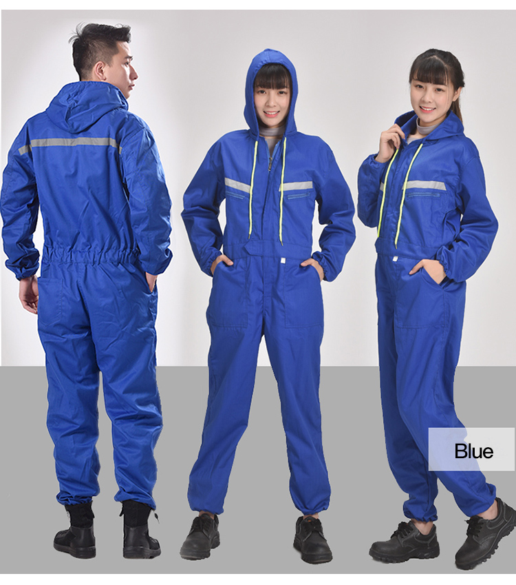 Men Women Coveralls Long Sleeve Hooded Reflective strip Overalls Auto Repair Engineering Spray Paint Workwear Working Uniforms (5)