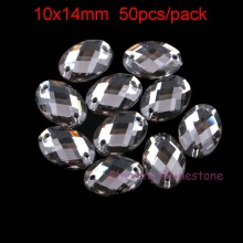 10X14mm Ellipse Sewing On Crystals Sew On Rhinestones Oval Acrylic Rhinestone Black Diamond 2 Holes Beads For DIY Garment 50pcs