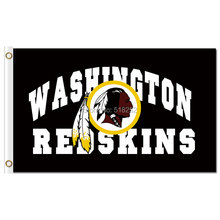 Washington Redskins with logo Flag 3x5 FT 150X90CM NFL Banner 100D Polyester Custom flag grommets 6038, free shipping(China)