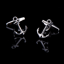 French Shirt Men Cuff Links Jewelry Anchor Wedding Groom Men Business Men's Silver Cufflinks Christmas tree Accessories(China)