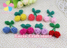 2pcs 2cm Handmade Cherry Applique Sew-on Cotton Crochet Knitting Flower DIY Headwear Sewing Accessory 20010099(2D2)(China)