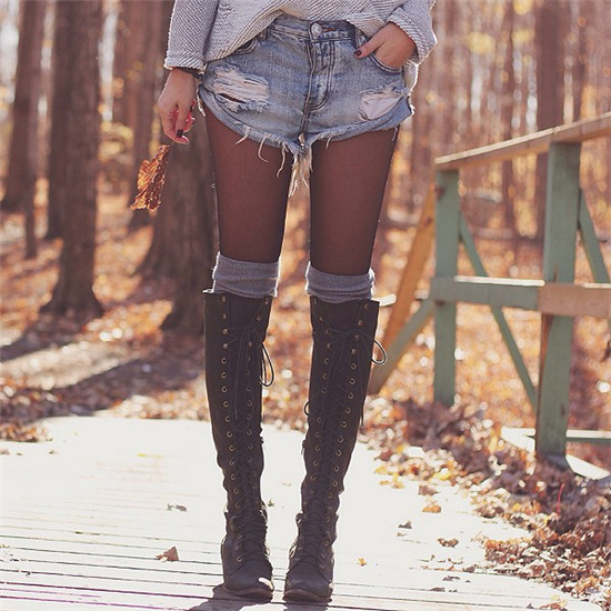 Mid Heel Grey Black Leather Cowboy Women Boots Retro Autumn Winter Boots Lace Up Knee High Boots Shoes Woman Botas Mujer (14)