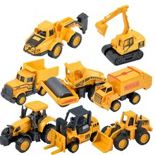 1:72 Engineering Metal Vehicles 8pcs/set Mini Alloy Model Car Excavator Truck Tractor Roller Piledriver Bulldozer Crane Kid Gift