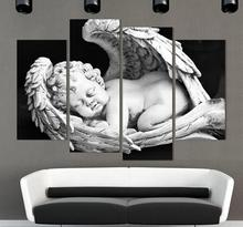 4 Piece European White and black angels Canvas modern Painting Naked Kids Pictures For Living Room Entrance Home Figure Decor