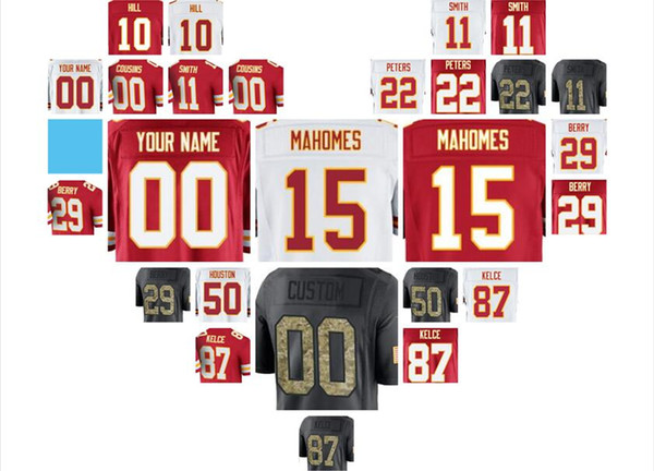 kansas city patrick mahomes chiefs jersey Eric Berry Travis Kelce Tyreek Hill Alex Smith Derrick Thomas 4xl american(China)
