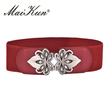 Maikun Vintage Design Belts For Women Diamond Buckle Wide Elastic Stretchy Waist Belt Female PU Leather Fashion Joker Belt(China)