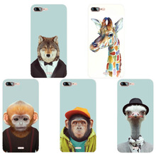 Fashion Cartoon Animal Head Design Phone Case Skin Cover White Hard Case Cover For Iphone 7Plus Case