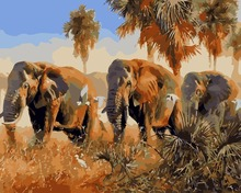African elephants Oil paintings by numbers with frame Landscape unique craft drawing by hand decoratives picture for living room