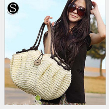 Senkey Style Fashion Women Bag Summer Totes Straw Woven Straw Beach Famous Brands Luxury Handbags Women Bags Designer