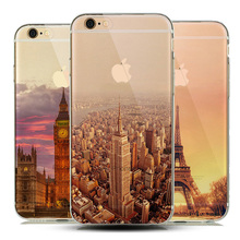 Soft Natural landscape TPU Case Cover for capinhas iphone 7 7plus iphone7 Silicone Case Scenery Effiel Tower Paris London City