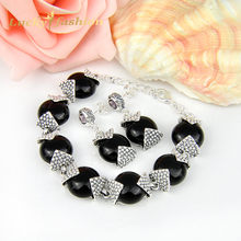 Promotion Jewelry Unique Antique Real Black Onyx Crystal Silver Plated Drop Earrings Bracelets Wedding Jewelry Sets
