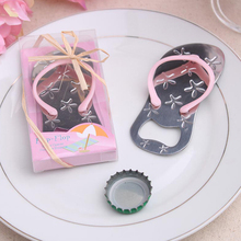 300pcs/lot Flip Flop Bottle Opener With Starfish Design Wedding Favor Guest Gift Blue Pink With PVC Box KP019(China)