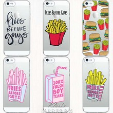 Fashion Fries Before Guys Case Cover For iphone 5 5S Transparent Silicone hamburger french fries pattern Cover Cell Phone Cases(China)
