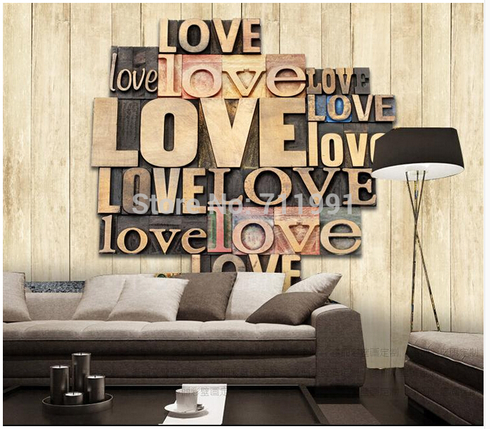 Custom papel DE parede 3 d proof wooden stereoscopic word love for the sitting room dining-room KTV bar wall vinyl wallpaper <br>