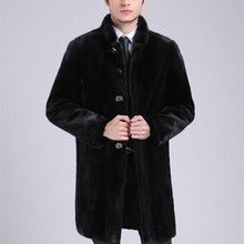 Imitation Mens Mink Coat Slim Black Long Leather Jackets Winter Warm Thickening Windbreaker Male Faux Fur Coats Plus Size 4XL