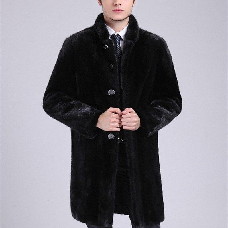 Imitation Mens Mink Coat Slim Black Long Leather Jackets Winter Warm Thickening Windbreaker Male Faux Fur Coats Plus Size 4XL